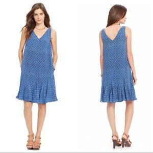 Ralph Lauren Indigo Sky Drop Waist Chiffon Dress